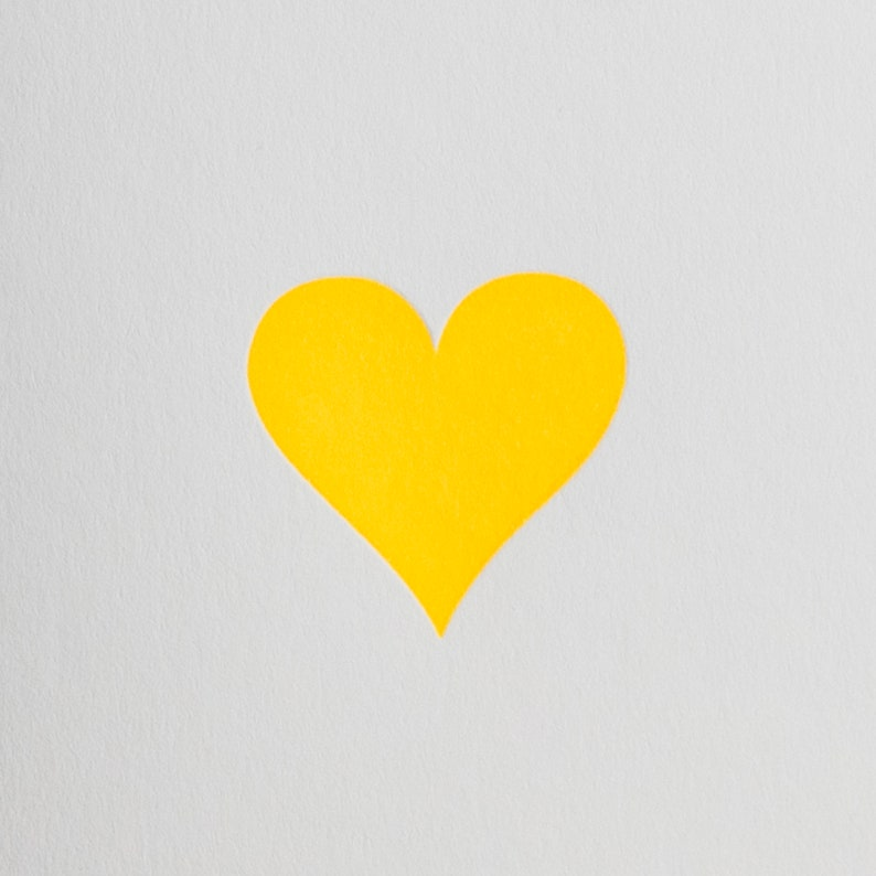 card for him love note card card for her Respect- Letterpress note card Small note cards Neon Yellow Love Heart Card Valentines