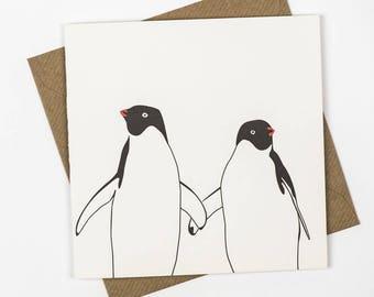 Anniversary card - Wedding card - First Anniversary him - Valentines Day card - valentines card romantic - penguin love - Anniversary Love