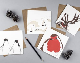 Letterpress Christmas Cards - Card pack - Animal Christmas Cards - Christmas card Set - Winter Holiday - Wildlife Christmas cards - Unique