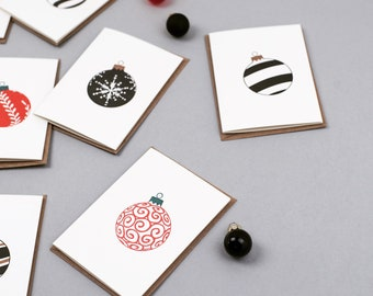 Letterpress Christmas notecards - bauble card pack - Letterpress Cards - Blank Christmas Cards - Small Note Cards - non religious - luxury