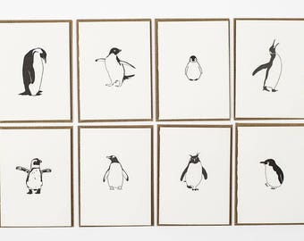 Thank you cards - penguin Thank you card pack - Letterpress Cards - Penguin note Cards - Small Note Cards - note card set bulk Penguin card