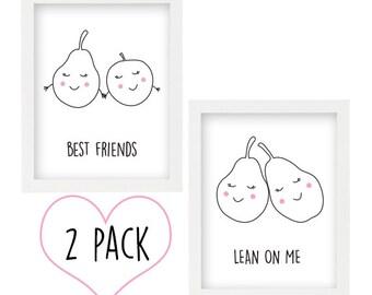 Printable Smiley Pear & Apple artwork x 2 Pack - wall art -  girls room - INSTANT DIGITAL DOWNLOAD