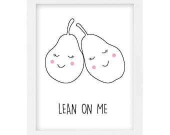 Printable Smiley Pear artwork - Smiley Pear wall art -  girls room smiley pear - INSTANT DIGITAL DOWNLOAD