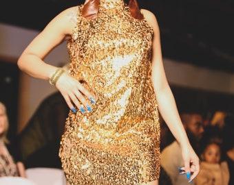 Custom GOLD Sequin Mini A-Line Dress