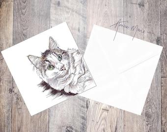 Cat Greeting Card - Sleepy White and Tabby / Blank Inside