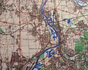 """WW2 Partial Map Of France Paris Seine Soldier's Souvenir 15x26"""" Sgt. Boffi"""