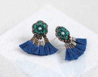 TASSEL FRINGE stud earrings / unique stud earrings / artisan jewelry / wishpiece FN15-GB
