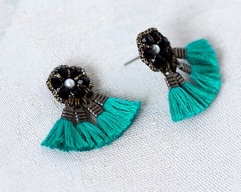 TEAL EARRINGS with TASSELS / large stud earrings / beaded tassel earrings for women / fashion jewelry / wishpiece