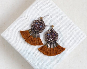 TASSEL CHANDELIER earrings / boho crochet jewelry / gift for women / wishpiece