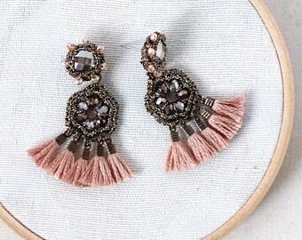 TASSEL DROP EARRINGS / dusty pink earrings / boho dangle earrings / wishpiece