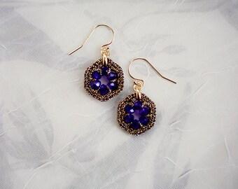 SAPPHIRE BLUE EARRINGS / bridesmaid gift jewelry / blue dangle earrings / wishpiece