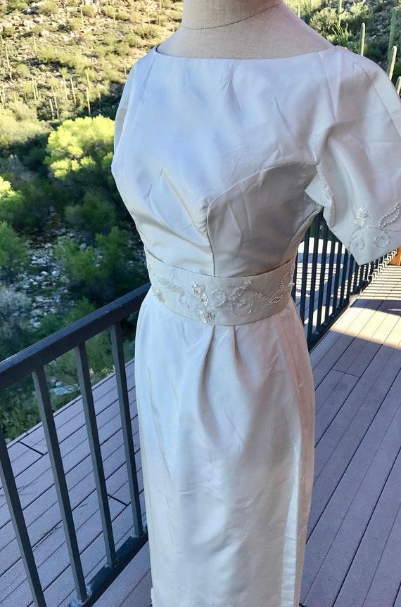 BOATNECK WEDDING DRESS/ Vintage 1960s Elegant Wedd