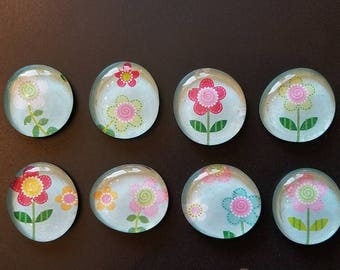 Floral Glass Marble Magnets set of 8