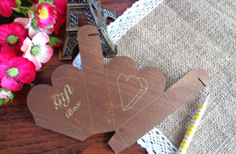 Mini Wooden  DIY Heart Box Template gift box templateloot image 0