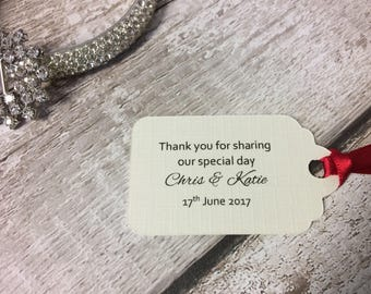 20 x Small tags / labels / wedding / with ribbon