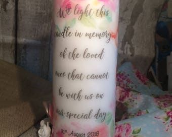 Memorial candle wedding celebration floral personalised