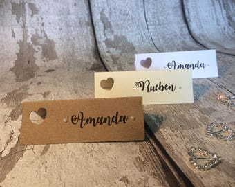 10 x Place name cards/ wedding/ party/ heart