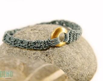 bracelet gold - petrol - crochet jewelry - gift for her - crochet jewelry - fiber jewelry - crochet - bracelets - stainless steel