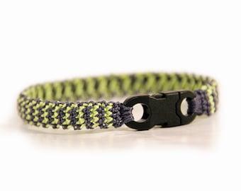 father gift - mens bracelet - boyfriend gift - surfer bracelet - green - grey - surfer jewelry - fiber bracelet