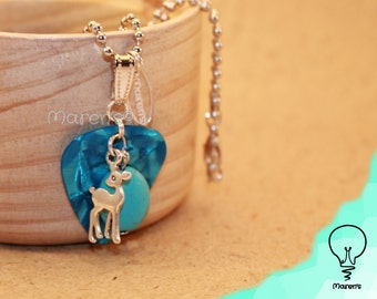Plectrum necklace - turquoise and deer