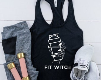 Fit Witch Racerback / Basic Witch / With Please / Halloween Tee / Funny Tee / Workout shirt / Hocus Pocus
