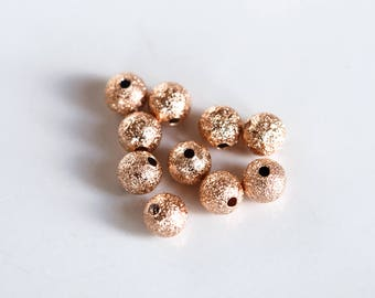 6db10c03a8 2990 Rose gold beads 6mm Gold plated beads Frosted spacer beads Metal beads  Ball beads Bead spacers Round beads Jewelry spacers 10 pcs.