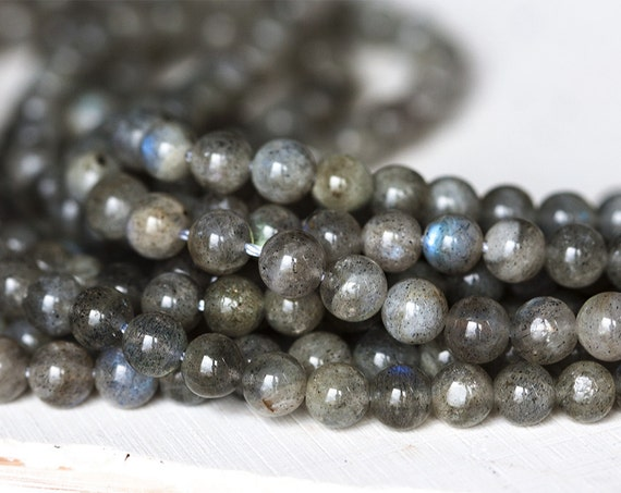 Labradorite Round Beads 8mm Grey 44 Pcs Gemstones DIY Jewellery Making Crafts
