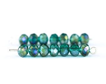 1647 Transparent AB green beads Faceted roundels crystals beads Glass rondelle beads Green glass crystals Transparent beads 6 mm 95 pcs