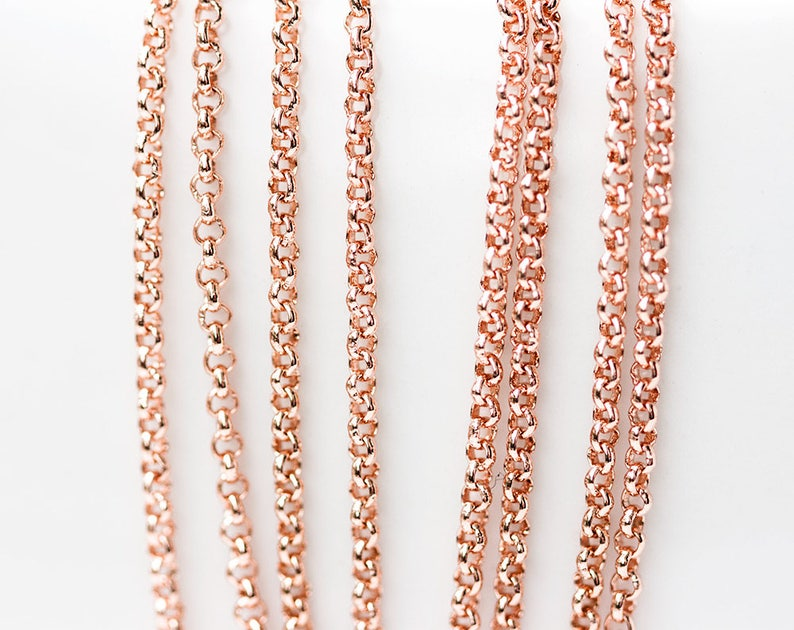 9780b6db6d4 2629 Rose gold chain 1.6 mm Rolo chain Gold plated chain Brass chain Pink  gold jewelry findings Round link chain for jewelry making 1m
