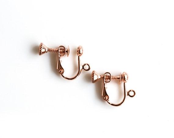 2 pairs Antiqued Brass Five Season Screw Back Non-Pierced Earring Findings