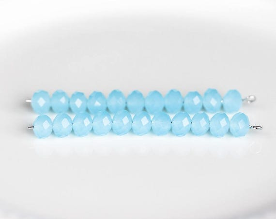 1 blue and white FACETED glass BEAD