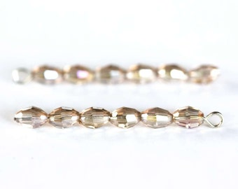 1758 Beads champagne 6x4 mm Glass faceted beads Oval beads Rice beads Champagne oval crystals Transparent AB beads for jewelry 50 pcs.