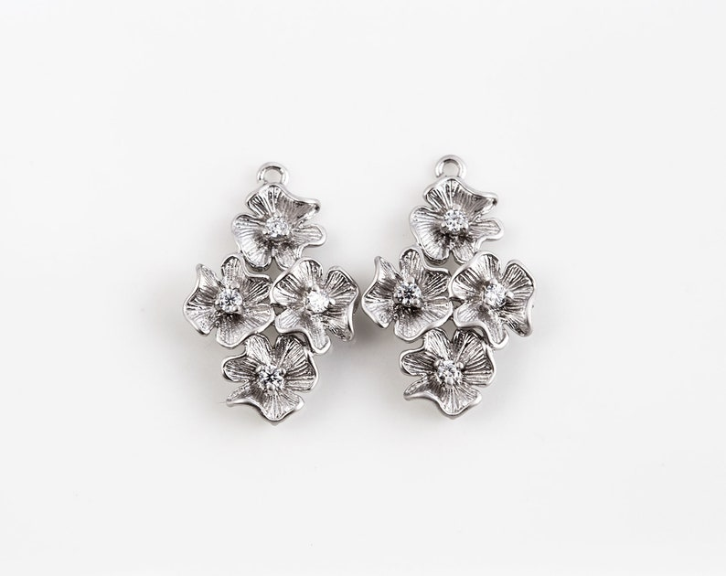 71dff7f07 3127 Silver Flower connector CZ Earring connectors 23mm Cubic | Etsy