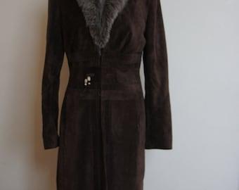 Karen Millen vintage leather and fur coat