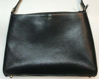 e70aa928c80a ON SALE Vtg Kate Spade New York Black Handbag Pebble Leather Purse Made in  Italy
