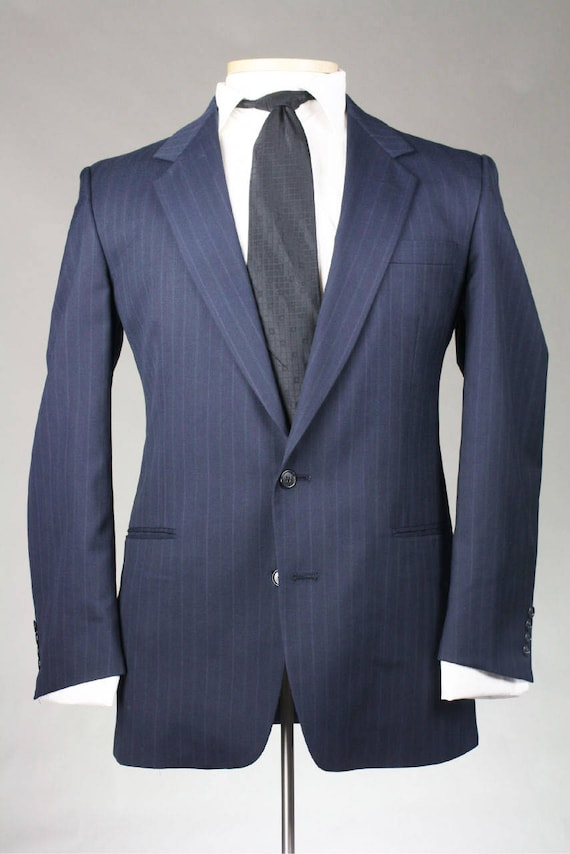 On Sale Vintage Austin Reed Navy Pinstripe Wool Jacket Blazer Etsy