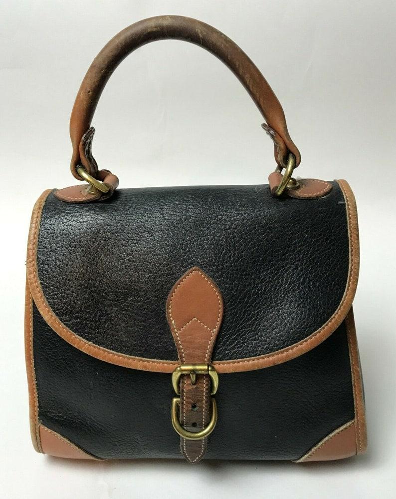 7d76f6abd9b ON SALE Vtg Dooney & Bourke Purse Domed Black Leather Handbag   Etsy