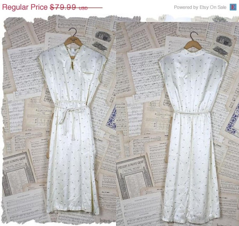ON SALE Vintage 70s80s RARE Avant Garde Satin { Seagull } Dress Metallic Gold Trim S