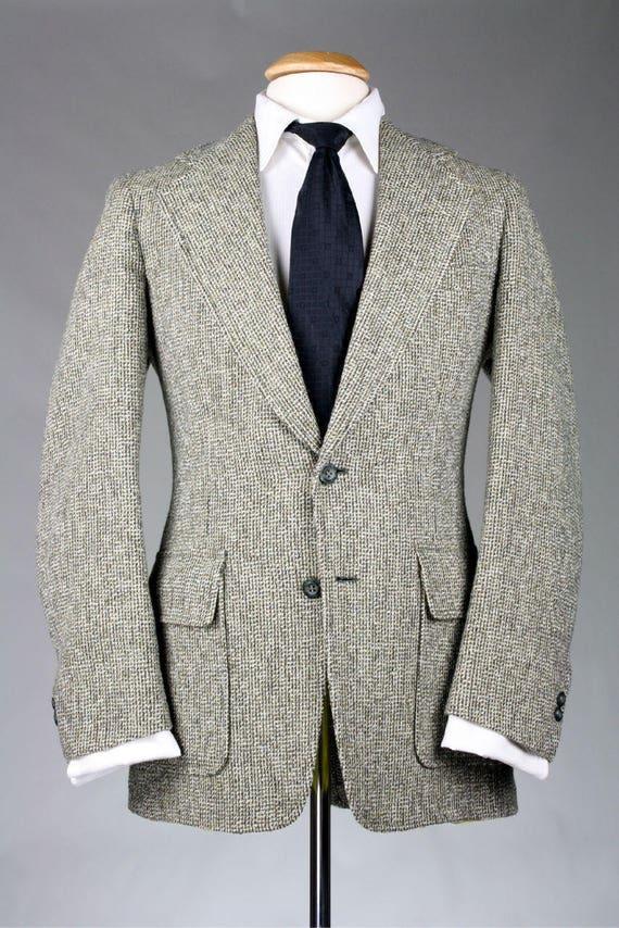 SUR vente Vintage des années 70, John Weitz Gray Tweed veste/Blazer en laine chaux Logo vert doublure 42 R