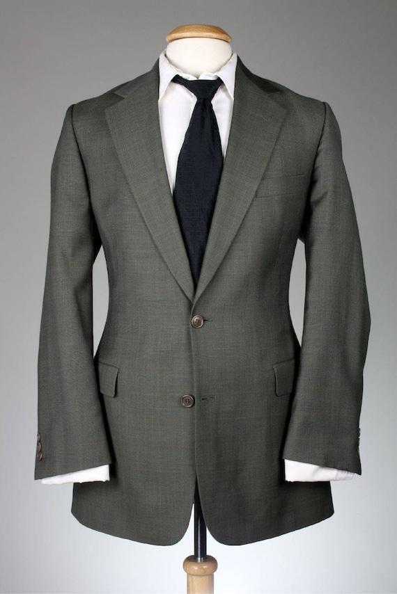 ON SALE Vtg Brooks Brothers Grayish Brown Plaid Check 45L Windowpane Wool 2 Piece Suit