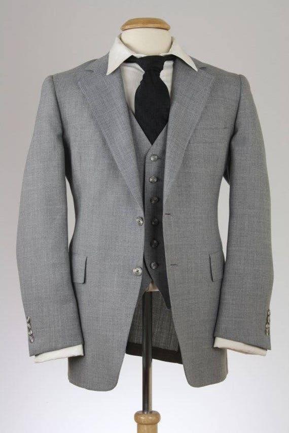 SUR vente Vintage des années 80, Hart Schaffner Marx gris laine 2 pièce veste/gilet Combo 40 R