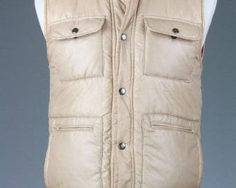 ON SALE Vintage 80s Alpine Ski Tan Puffy Puffer Hunting Winter Coat/Vest Mens S