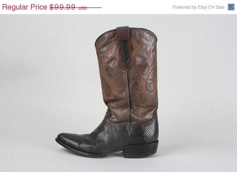 760168b897c ON SALE Vintage Coyote Joe Brown Lizard Leather Cowboy Western Boots 8 D
