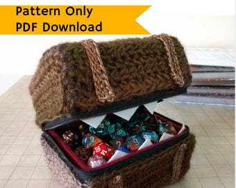 PATTERN: Mimic treasure chest dice box, crochet tutorial, monster, DIY, guide, RPG dice box instructions, roleplaying gift, intermediate