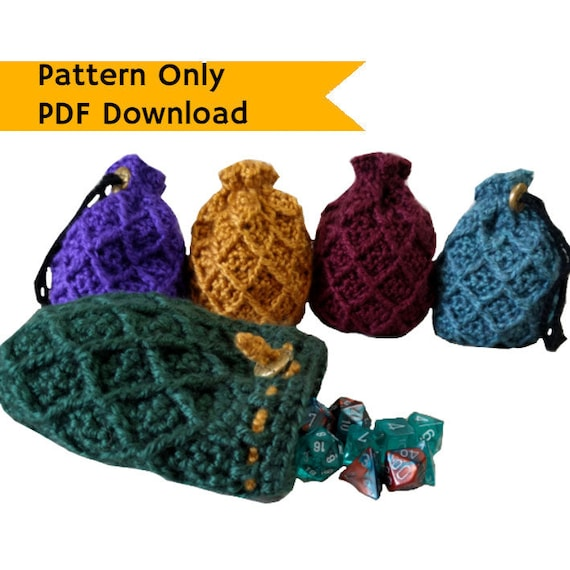 Pattern Dice Bag Dragon Egg Crochet Pattern Drawstring Bag Etsy