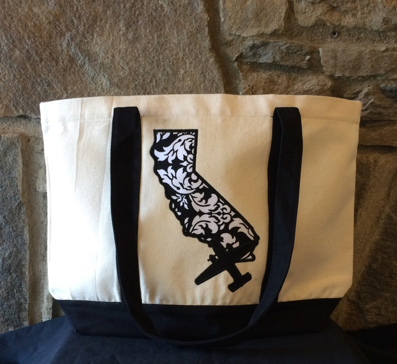 Canvas Tote Bag with C-2A Greyhound or E-2CD Hawkeye over California Christmas Gift VRC VAW