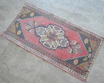 2x3 ft Rug Hand Knotted Small Oushak Rug Turkish Rug Front of Kitchen Sink Bath mat Rug Mini Rug Oushak Rug Actual 20\u02ba x45\u02ba  *