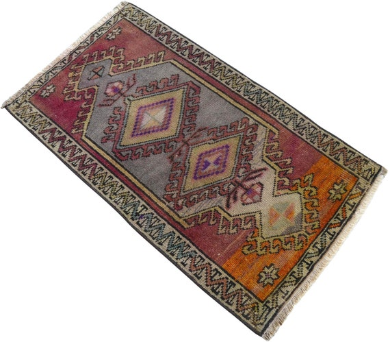 2x3 Ft Rug Hand Knotted Small Kurdish Rug Distressed Low Pile Etsy