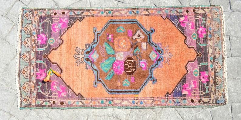 23x46  * Turkish Rug Vintage Rug Actual 2x4 ft Rug Hand Made Small Rug Distressed Low Pile Kitchen Sink Bath mat Yastik rug  floral rug