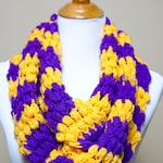 Purple and Gold Team Color Infinity Scarf - Chunky Crochet Eternity Scarf, Loop Knit Scarves, Handmade